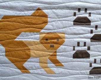 Squirrel Quilt Block Pattern, PDF, Instant Download, modern patchwork, forest animal, cute, woodland