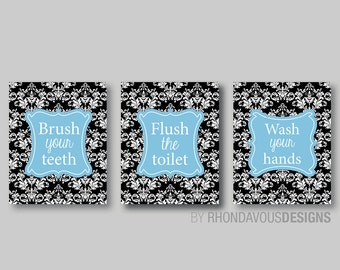 Bathroom Decor - Bathroom Art - Bathroom Prints - Bathroom Rules - Damask - Home Decor - Bath Decor - Black White Blue - NS-547