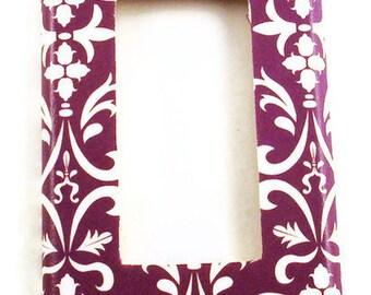 Switchplate  Wall Decor  Single Rocker Light Switch Plate in Purple  Damask (183R)