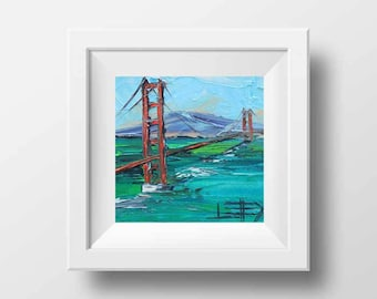 San Francisco Art, Golden Gate Bridge, California Art, California Landscape, Oil painting print, California Print, 8x8, San Francisco, Print