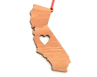 Heart California Christmas Ornament - CA State Shape Ornament with Christmas Heart Cutout - California Ornament Design by Heart State Shop