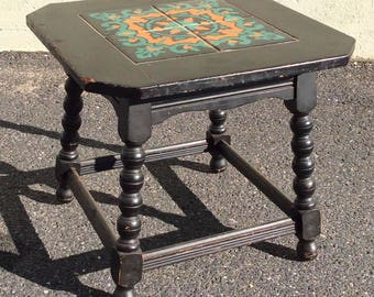 California tile table oak bungalow or Spanish revival style