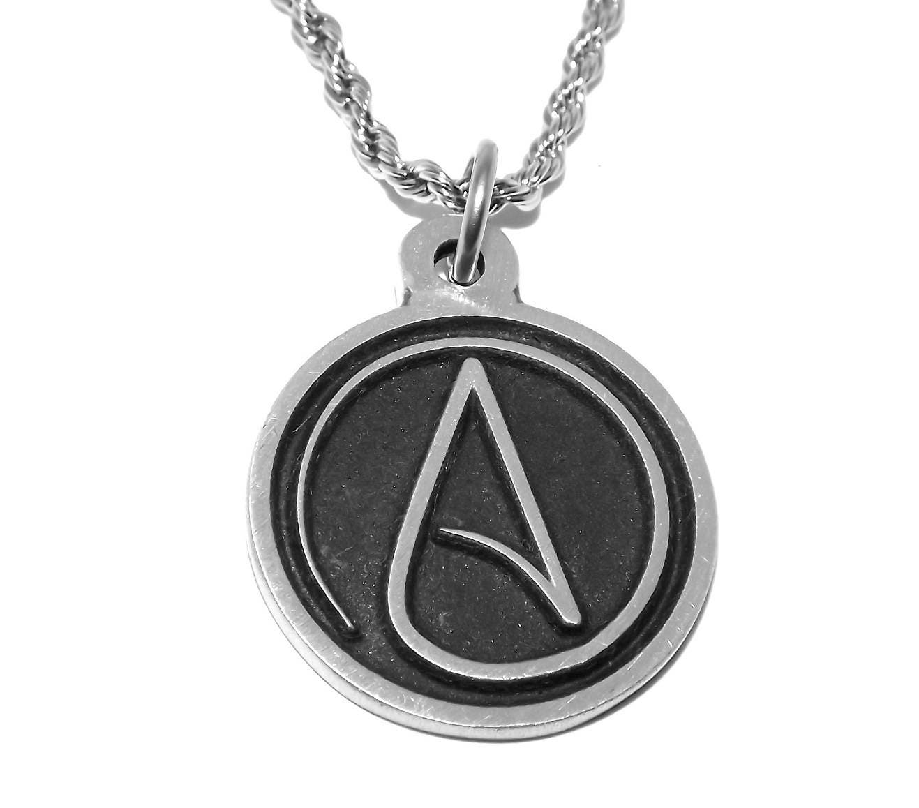 Black pewter atheist symbol pendant necklace with chain zoom aloadofball Choice Image