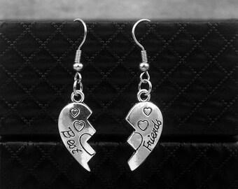 Best Friend Earrings -Silver Friendship Earrings -BFF Jewelry -With Gift Box