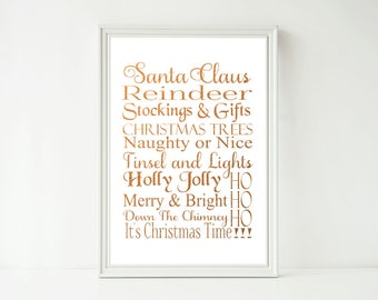 Real Foil Print - Christmas Words Subway Art, Poster Prints, Home Decor Decoration Wall Art, Gold, Gopper or Silver