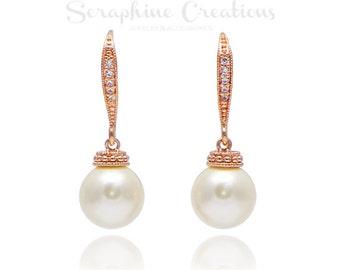 Rose Gold Pearl Earrings, Wedding Jewelry, Swarovski Pearls Cubic Zirconia Wedding Earrings Sparkly Bridal Earrings Bridesmaid Gifts K041RG
