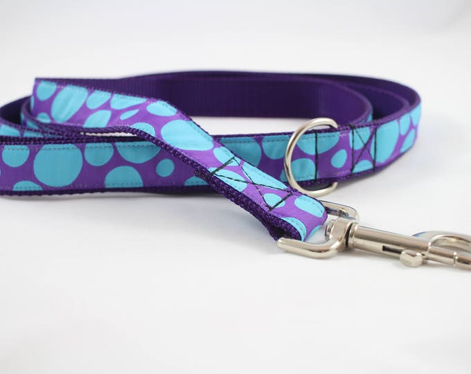Dog leash,  polka dot ribbon, purple leash, jacquard woven ribbon leash, 6 foot leash, pet accessory, dog gift, pet gift,  Bozies Bags leash