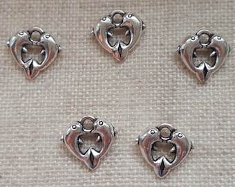 Dolphin Charms x 5. Antique Tibetan Silver Tone. UK Seller
