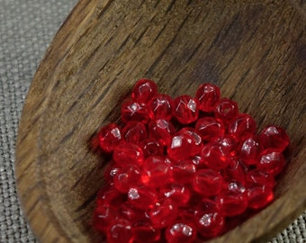 4mm beads 50pc Fire polished beads 4mm faceted beads Czech beads 4mm round beads glass beads Scarlet Red beads last