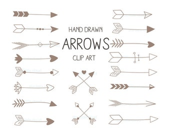 Brown hand drawn Arrows Clipart (A set of 18).