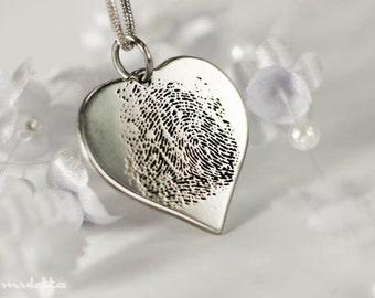Fingerprint jewelry, fingerprint necklace, fingerprint heart pendant