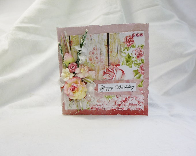 Shabby Chic Card, Birthday Card, Pink And White, Happy Birthday Card, Flowers Ribbon and Pearls,  Beautiful Card, For Any Female, Any Age