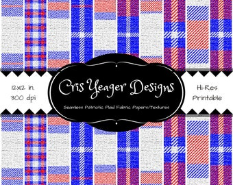Printable Digital Seamless Patriotic Plaid Fabric Papers - Scrapbooking - Digital Design - Textures