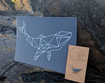 Charity Geometric Whale Bundle - Navy Enamel Pin Badge & Postcard Print