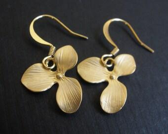 Gold Orchid Earrings, Flower Earrings, Triple Petal, Matte Finish, Gold Orchid, Gold Flower Earrings, Bridesmaid Earrings, Bridesmaid Gifts