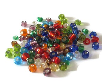10 grams seed beads mixed color glass 4mm