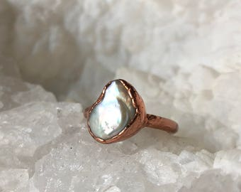 Pearl Electroformed Ring- Size 7.25