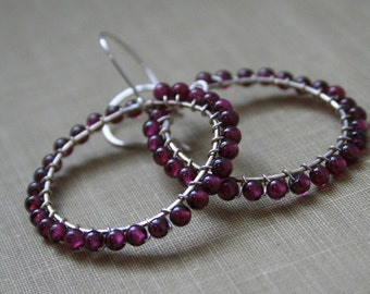 Pink Garnet WireWrapped Sterling Silver Hoop Earrings