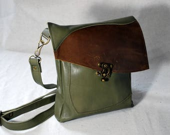 Sage Green Leather Crossbody Bag/Leather Purse/ Reclaimed Leather Bag