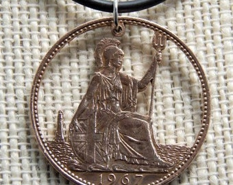 english one cent cut coin pendant 1967.