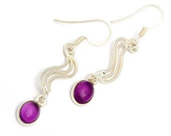 Perfect Waves Sterling Silver Earrings With Amethyst