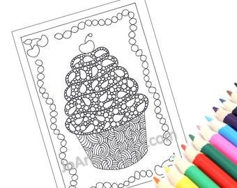 Printable Coloring Page, Zentangle Inspired Cupcake Printable Zendoodle to Color Page 48: Zendoodle