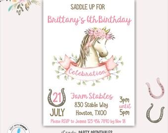 Horse Birthday Invitation, Horse Birthday Party Invites, Girl Horse Party Invitation, Pony Birthday Party, Printable, Editable, Templett