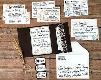 Unique wedding invitation, handmade pocketfold invitation, rustic champagne printed invitation set with pocket, country theme, DIY wedding