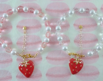 Strawberry Picnic Bracelet//Miniature Food, Lolita Fashion, Fairy Kei, Party Kei, Decora, J-Fashion