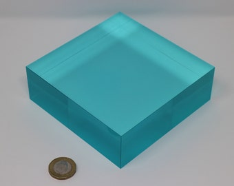 Translucent tinted marine light blue E011 acrylic perspex colour block 40mm thickness, 120x120mm