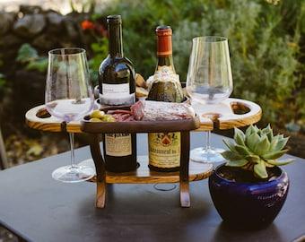 Wood wine caddy, wine bottle holder, wine glass holder,  wine rack,wine accessories, wedding gift, wine  gift for dad, gift for men