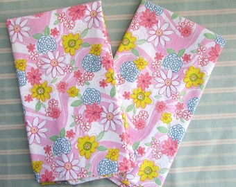 Pillowcases, Pair of Cotton Floral Pillowcases, Mod Floral  in Pink, Yellow, Blue  2 Standard Size Pillowcases,  Bedding, Bedroom Decor