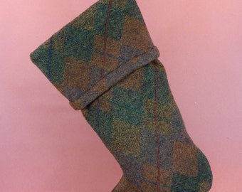 Christmas Stocking Felted Wool Felt Stocking Dark Green Brown Argyle Patterns Recycled Repurposed Upcycled 061