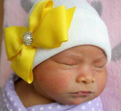 Newborn Hat. White with Yellow Bow topped with Pearl Rhinestone ... ffe1870d531e