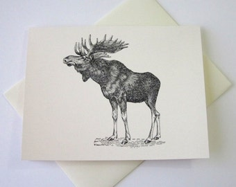 Moose Note Cards Stationery Set of 10 Cards with Matching Envelopes