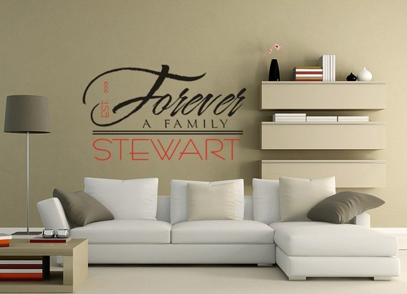 Forever a Family Vinyl Decal Wall Art Family Name Decal Wall Mural Graphics for Home, Kids, Children, Dorms, Baby Nursery