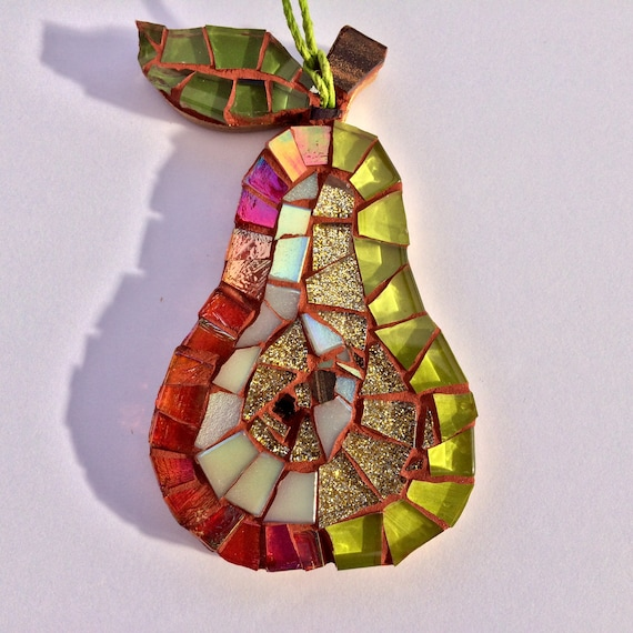 Handmade glass mosaic hanging pear Unique gift idea Kitchen decor Gift for her