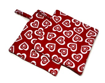 Handmade Quilted Pot Holders Set of 2  Red White Hearts Valentine's Day