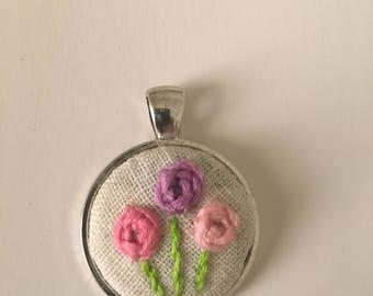 Handmade embroidered pendant