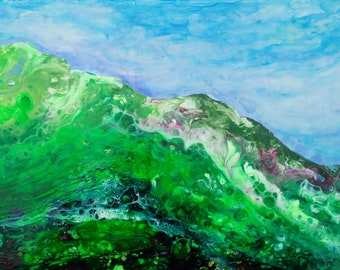 Abstract Landscape Painting, small and green