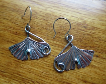 Large Sterling Silver Brutalist Ginkgo Spiral Dangle Earrings