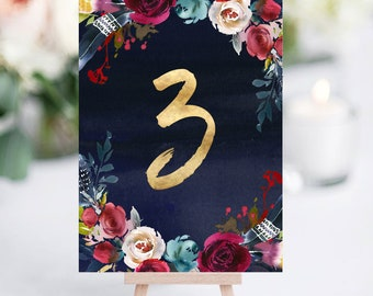 Watercolour Floral Summer Wedding Table Numbers