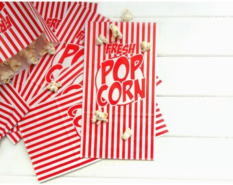 10 Large Popcorn Bags / Circus Favor Bag / Carnival Party Bag / Tailgate Party / Circus Birthday / Concession Stand / Party Favor Bag
