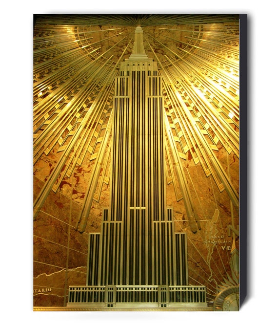 Gold Empire State Building Art Deco Canvas Wall Art Print