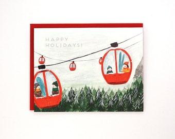 Gondola Holiday Card - Happy Holidays! - handpainted greeting card / HLY-GONDOLA