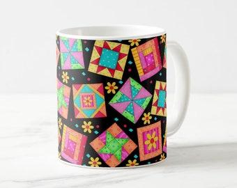 Quilt Block Art Mug, Colorful Multicolor Blocks on Black, Whimsy Original Quilt Art, Traditional and New Blocks, Original Quilt Art