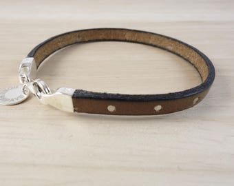 Brown leather studded bracelet