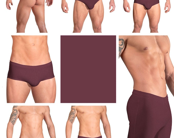 Solid Wine Swimsuits for Men by Vuthy Sim.  Choose Thong, Bikini, Brief, Squarecut, Boxer, or Board Shorts - 06