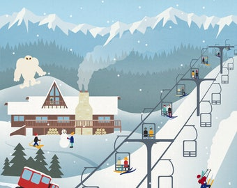Whitefish, Montana - Retro Ski Resort - Lantern Press Artwork (Art Print - Multiple Sizes Available)