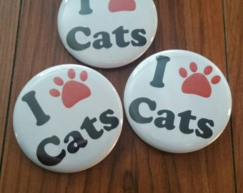I love cats 2.25 inch pinback button set
